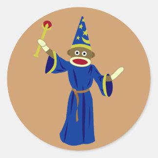 Sock Monkey Wizard Round Sticker