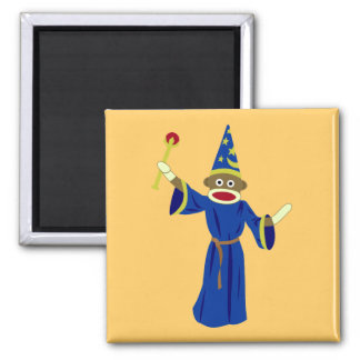 Sock Monkey Wizard Square Magnet