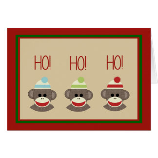 Sock Monkeys Christmas holiday card