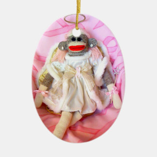 Sock Monkeys for the Cure Angel Oval Ornament