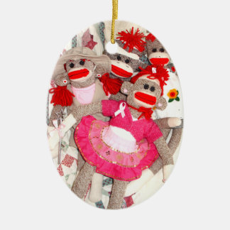 Sock Monkeys for the Cure Oval Ornament