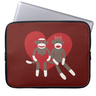 Sock Monkeys in Love Hearts Valentine's Day Gifts Computer Sleeve