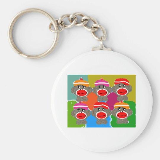 Sock Monkeys Pop Art Art Gifts Key Ring