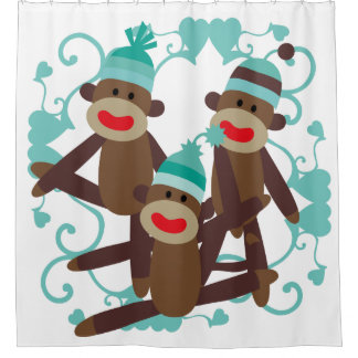 Sock Monkeys With Blue Hearts Shower Curtain