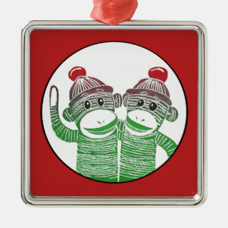 Sock Monkeys with Red Border Square Ornament