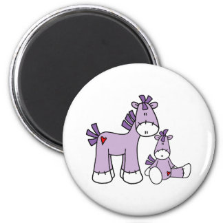 Sock Ponies Pink 6 Cm Round Magnet