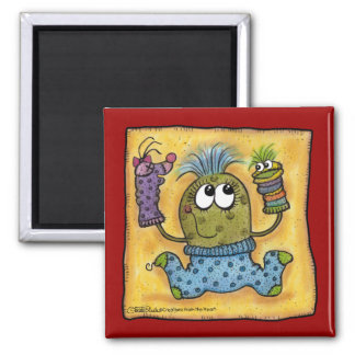 Sock Puppet Fun Square Magnet