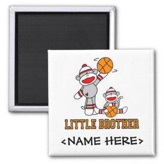 Sockmonkey Basketball Little Brother Square Magnet