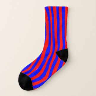 Socks: Rough Red & Blue Lines & Curves 1