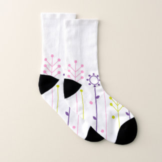 Socks white Meadow ethno
