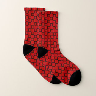 Socks with classic red and black design