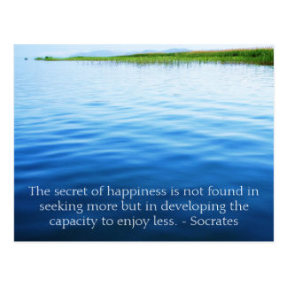 Socrates inspirational quote about Minimalism Postcard