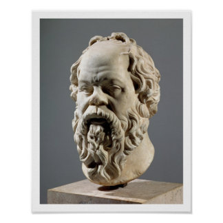 Socrates, marble head, copy from a bronze from the poster
