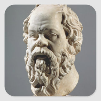 Socrates, marble head, copy from a bronze from the square sticker