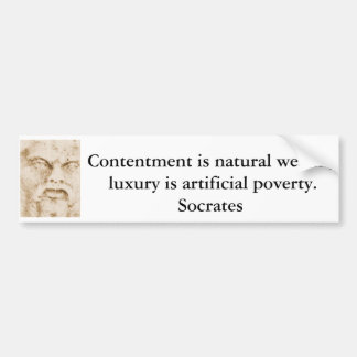 Socrates quote about minimalism and materialism bumper stickers