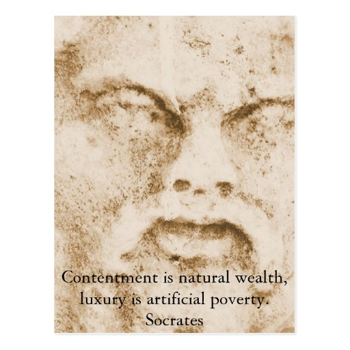Socrates quote about minimalism and materialism post cards