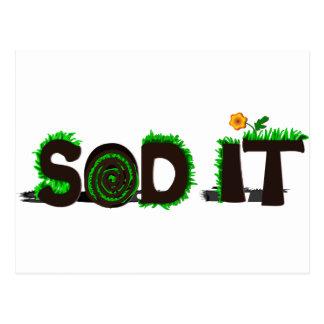 """""""Sod It"""" Grass Sod Design Postcard"""