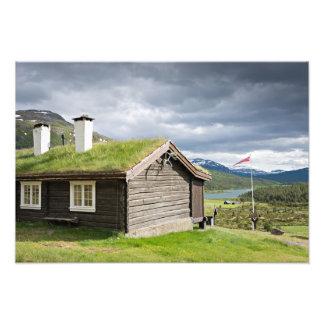 Sod roof log cabin in Norway Art Photo
