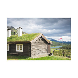 Sod roof log cabin in Norway Stretched Canvas Print