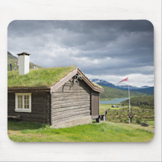 Sod roof log cabin in Norway Mouse Pad