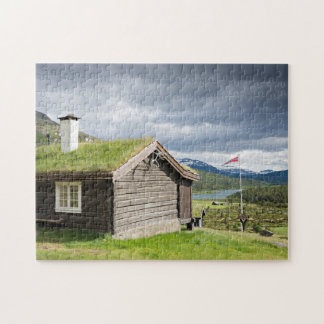 Sod roof log cabin in Norway Puzzle