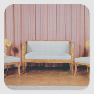 Sofa and two chairs, Karelian birch, 1810-20 Square Sticker