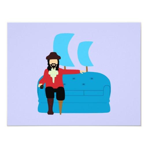 Sofa Pirate 11 Cm X 14 Cm Invitation Card