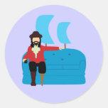 Sofa Pirate Round Sticker
