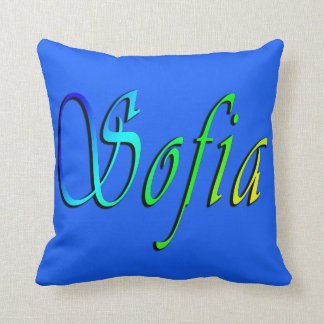 Sofia, Name, Logo, Blue Throw Cushion