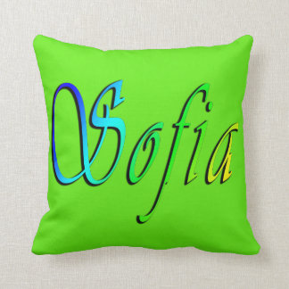 Sofia, Name, Logo, Green Throw Cushion