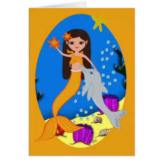 Sofia the Mermaid and Dolphin Card