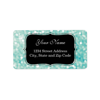 Soft Aqua Bokeh Lights Glitter Sparkles Address Label