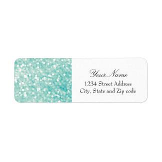 Soft Aqua Bokeh Lights Glitter Sparkles Return Address Label
