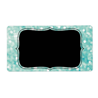 Soft Aqua Bokeh Lights Glitter Sparkles Shipping Label