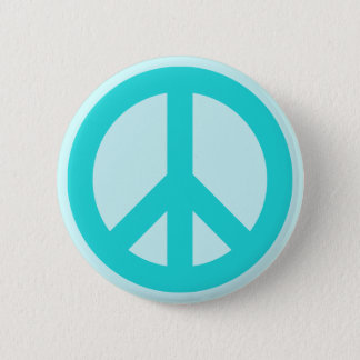 Soft Aqua Peace Symbol 6 Cm Round Badge