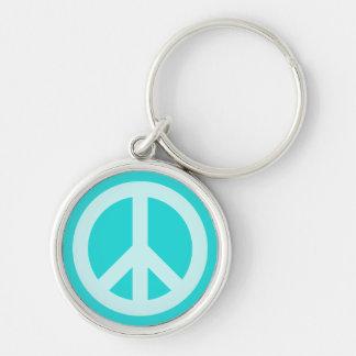 Soft Aqua Peace Symbol Key Ring
