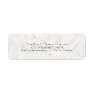 Soft Beige Elegant Marble Wedding Return Address Label
