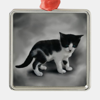 Soft Black & White Kitten Christmas Ornament