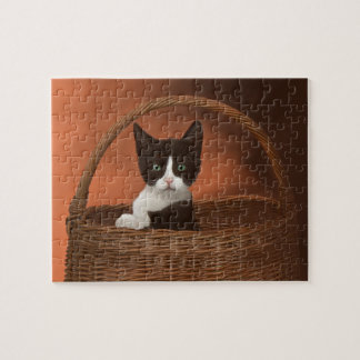 Soft Black & White Kitten in a Basket Jigsaw Puzzle