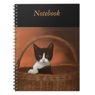 Soft Black & White Kitten in a Basket Notebooks