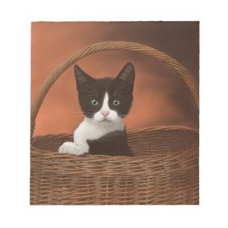 Soft Black & White Kitten in a Basket Notepad