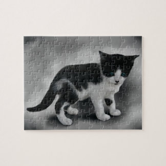 Soft Black & White Kitten Jigsaw Puzzle