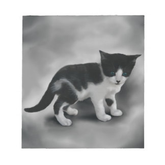 Soft Black & White Kitten Notepad
