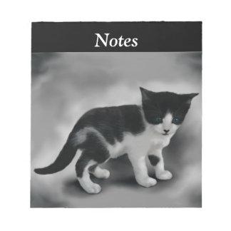 Soft Black & White Kitten Notepad