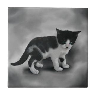 Soft Black & White Kitten Tile