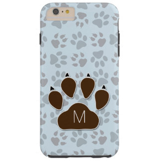 Soft Blue and Brown Dog Paw with Monogram Tough iPhone 6 Plus Case