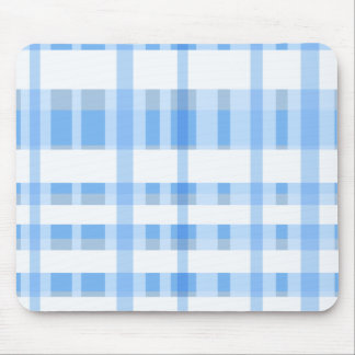Soft Blue and white Plaid Mouse Mat