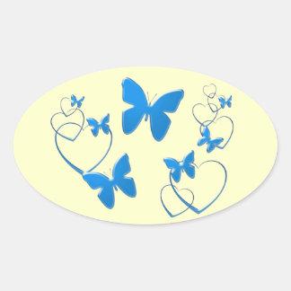 Soft blue butterflies and hearts oval sticker