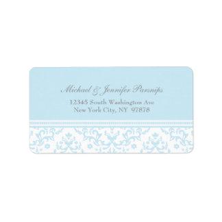 Soft blue chic damask personalized address label
