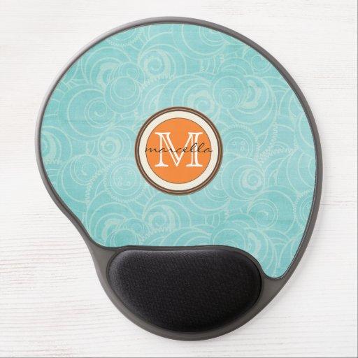Soft Blue Circle Pattern Orange Monogram Gel Mouse Pads